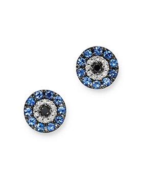 Bloomingdale's - Diamond & Sapphire Evil Eye Earrings in 14K White Gold - 100% Exclusive