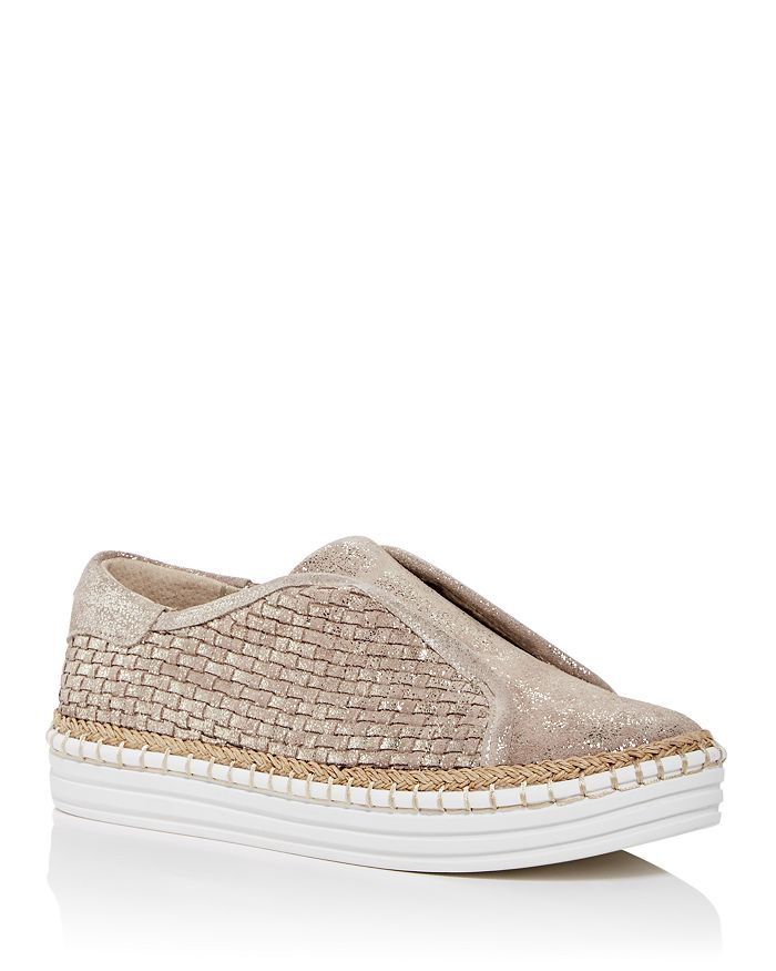 J/Slides - Women's Kayla Woven Slip-On Platform Sneakers