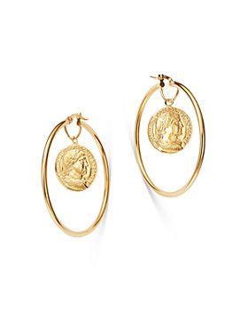 Bloomingdale's - Coin Hoop Earrings in 14K Yellow Gold - 100% Exclusive