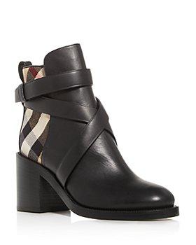 Burberry - Women's House Check Almond-Toe Block-Heel Booties