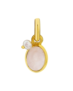 Tous 18K Yellow Gold-Plated Sterling Silver Rose Quartz & Glass Pearl Pendant