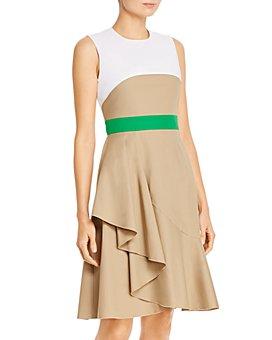 PAULE KA - Draped-Skirt A-Line Dress