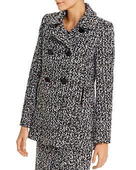 PAULE KA - Double-Breasted Flounced Tweed Coat