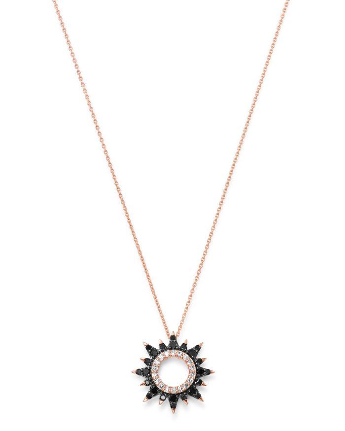 Bloomingdale's Black & White Diamond Starburst Necklace in 14K Rose Gold, 0.25 ct. t.w. - 100% Exclusive   | Bloomingdale's