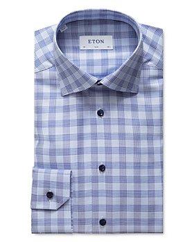 Eton - Contrast Blue Button Plaid Slim Fit Dress Shirt