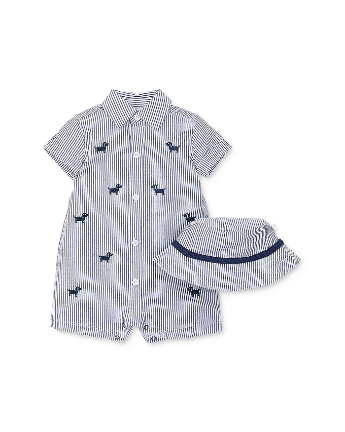 Little Me - Boys' Embroidered Doggy Romper & Bucket Hat Set - Baby