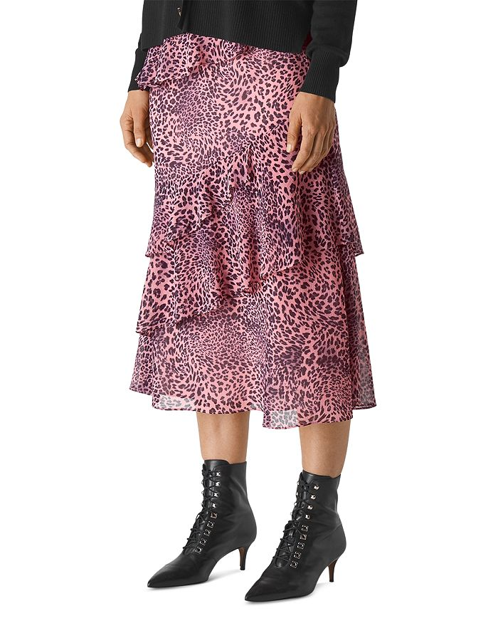 Whistles - Whistles Wild-Cat-Print Tiered Midi Skirt