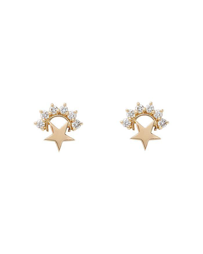 Nouvel Heritage - 18K Yellow Gold Mystic Diamond Star Stud Earrings
