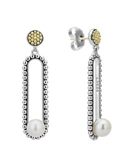 LAGOS - 18K Yellow Gold & Sterling Silver Luna Cultured Freshwater Pearl Drop Earrings