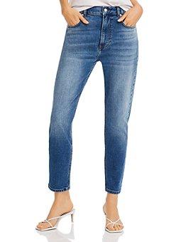 AQUA - High-Rise Skinny Jeans in Medium Blue - 100% Exclusive