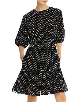 Derek Lam 10 Crosby - Polka-Dot Embroidered Puff-Sleeve Dress