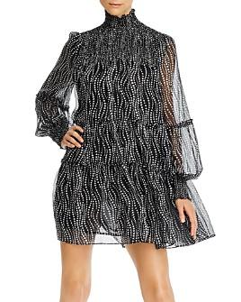 Cinq à Sept - Smocked Sheer-Sleeve Mini Dress