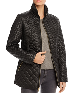 Via Spiga Stand Collar Quilted Short Coat-Women