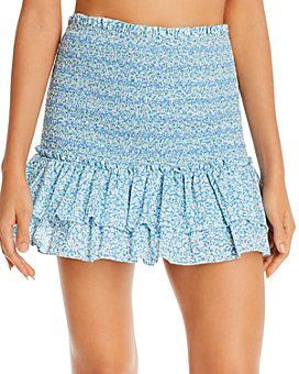 Jonathan Simkhai - Sydney Smocked Mini Skirt Swim Cover-Up