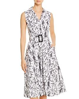 T Tahari - Sleeveless Horse Print Shirt Dress