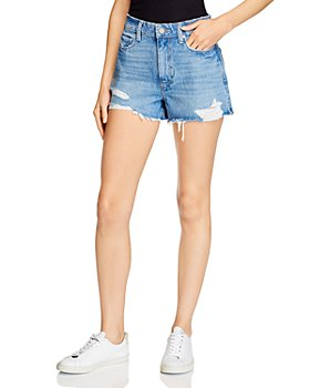PAIGE - Margot Distressed Raw Hem Denim Shorts