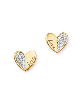 Adina Reyter - Diamond Love Folded Heart Stud Earrings in 14K Gold, 0.08 ct. t.w.
