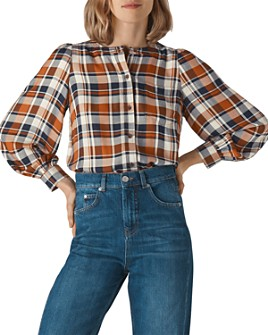 Whistles - Checked Puff-Sleeve Shirt