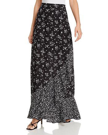 AQUA - Ruffled Floral Maxi Skirt - 100% Exclusive