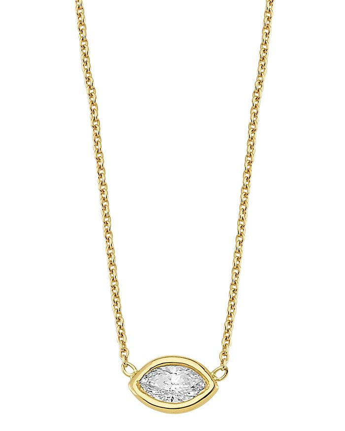 Own Your Story 14k Yellow Gold Geometry Marquis Diamond Pendant Necklace In White/gold