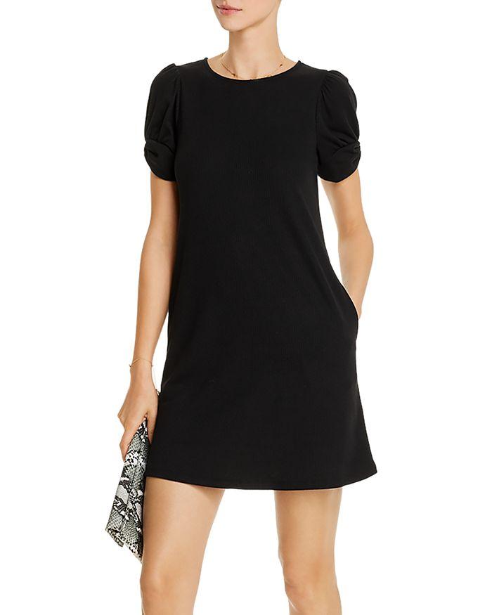 AQUA - Puff-Sleeve Ribbed Dress - 100% Exclusive