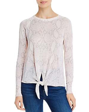Olivaceous Snake Print Tie-Front Sweater