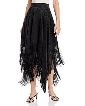 MSGM - Gonna Floral-Print Fringed Handkerchief Hem Midi Skirt