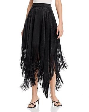 Msgm Gonna Floral Print Fringed Handkerchief Hem Midi Skirt