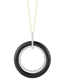 """MATEO - 14K Yellow Gold Onyx & Diamond Circle Necklace, 24"""""""