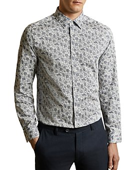 Ted Baker - Charity Cotton Floral-Print Slim Fit Shirt