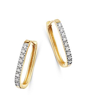 Bloomingdale's - Diamond Square Hoop Earrings in 14K Yellow Gold or 14K White Gold - 100% Exclusive