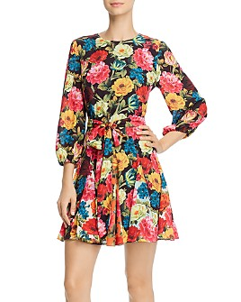 Alice and Olivia - Belted Floral-Print Fit & Flare Mini Dress