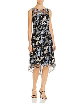 Adrianna Papell - Embroidered Lace Midi Dress