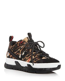 Burberry - Women's Leopard & Union Print Low-Top Sneakers
