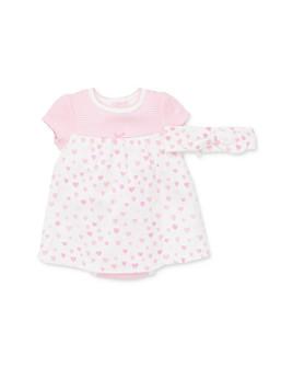 Little Me - Girls' Cotton Hearts Bodysuit Dress & Headband Set - Baby
