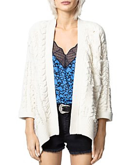 Zadig & Voltaire - Mouna Cable-Knit Open-Front Cardigan
