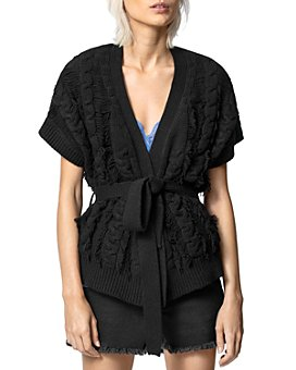 Zadig & Voltaire - Corry Cows Cable-Knit Wrap Cardigan