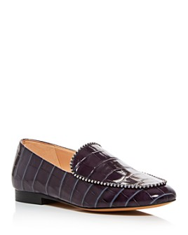 COACH - Women's Harper Croc-Embossed Bead Embellished Loafers