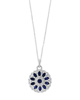 Bloomingdale's - Blue Sapphire & Diamond Floral Pendant Necklace in 14k White Gold - 100% Exclusive