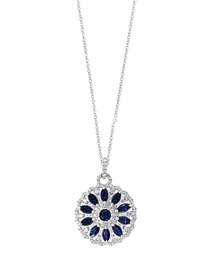 Bloomingdale's Blue Sapphire & Diamond Floral Pendant Necklace in 14k White Gold - 100% Exclusive