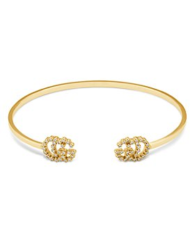 Gucci - 18K Gold or 18K White Gold Running Diamond Logo Bangle Bracelets