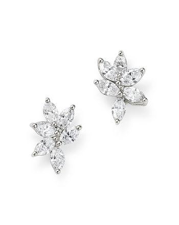 Bloomingdale's - Diamond Cluster Stud Earrings in 18K White Gold, 1.05 ct. t.w. - 100% Exclusive
