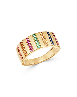 Bloomingdale's Rainbow Sapphire Statement Ring in 14K Yellow Gold - 100% Exclusive