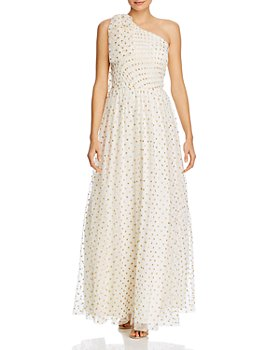 Eliza J - Dot-Print One-Shoulder Gown