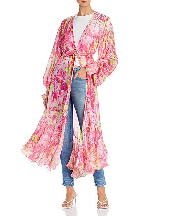 Rococo Sand - Floral Print Duster Jacket