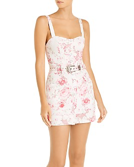 For Love & Lemons - Weston Printed Denim Mini Dress