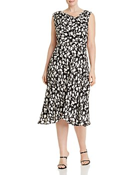 Adrianna Papell Plus - Draped Floral A-Line Dress