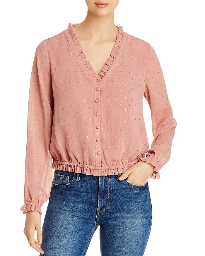 cupcakes and cashmere - Maddie Ruffled Metallic-Dot Blouse