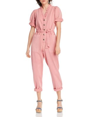 cupcakes and cashmere Womens Cameo Velvet Cross Front Jumpsuit W//Tapered Leg