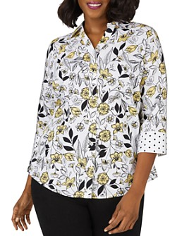 Foxcroft Plus - Mary Floral-Toile Shirt